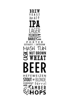 Items similar to Typography Beer Poster on Etsy - This Artist has used Type to create a beer bottle shape, He/She has used different variations of le -