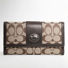 Coach :: Sutton Signature Checkbook Wallet...makes my diaper bag. Love!