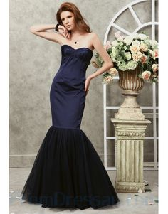 Tulle and Satin Strapless Softly Curved Neckline Bodice Mermaid Prom Dress Prom Dresses Canada, Navy Prom Dresses, Prom Dress 2014, Elegant Prom Dresses, Prom Dresses For Sale, Mermaid Prom Dresses, Formal Evening Dresses, Strapless Dress Formal, Nice Dresses