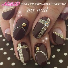 69 super ideas for nails brown gold manicures nailart Gold Manicure, Gold Nails, Manicure And Pedicure, Cute Nails, Pretty Nails, Nail Art Noel, Crazy Nails, Beautiful Nail Designs, Gorgeous Nails