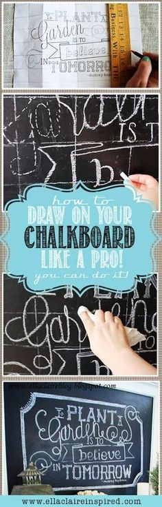 How to draw on your chalkboard like a pro! Lots of free templates on this site too. You can do it!