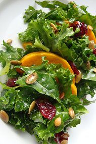Kale Salad With Butternut Squash, Cranberries and Pepitas