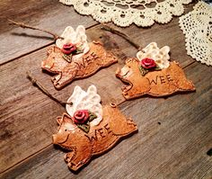 Set of 3 Flying Rose Pigs / When Rosy Pigs Fly by TexasAngelGifts, $32.00