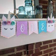 PARTIDO de unicornio unicornio primer cumpleaños bandera del