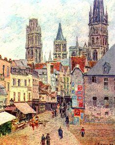 Camille Pissarro, Rouen, Rue de l'Épicerie, 1898, 1830-1903, peintre impressionniste puis néo-impressionniste français, un de ses pères, peint la vie rurale, célèbre aussi pour ses scènes de Montmartre, professeur de Cézanne ou Gauguin