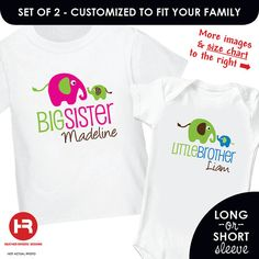 Elephant Big Sister Shirt & Elephant by HeatherRogersDesigns, $33.00