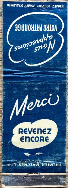 Merci #ontario #matchbook - To order your business' own advertising matches GoTo GetMatches.com