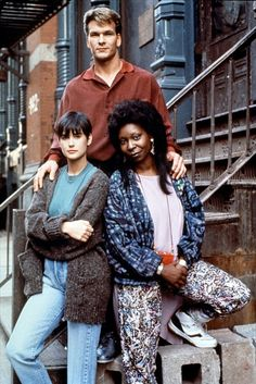 Demi Moore, Patrick Swayze, and Whoopi Goldberg pose for photo on the set of Ghost (1990)