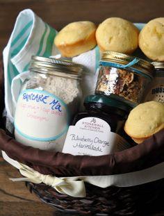 Breakfast Basket (Homemade muffins, Pancake Mix, Homemade Granola, Preserves/Jam, Maple Syrup, A kitchen Towel)