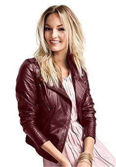 Ellos Womens Plus Size Faux Leather Jacket Chestnut14 *** You can find more details by visiting the image link.