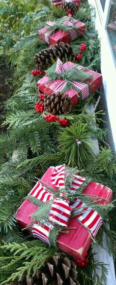 Christmas ~ Window Box Decor...like the idea painting a piece of wood and tying ribbon around it.