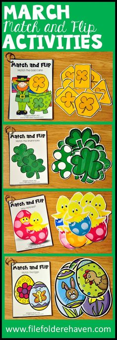 These Matching Activities: March Match and Flip Books focus on basic matching skills. In these activities students work on matching picture to picture (exact match), matching shape to shape and matching color to color.  There are four Match and Flip Books included in this download.  Match the Shamrocks (Matching Picture to Picture) Match the Gold Coins (Matching Shape to Shape) Who Hatched? (Matching Color to Color) Match the Eggs (Matching Picture to Picture)