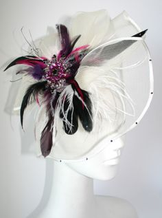 Large White hair fascinator with Swarovski crystals - Inspired by Claire Jane, LLC