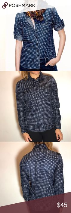 J. Crew Keeper Chambray Shirt J. Crew Keeper Chambray Shirt in Star Dot. -Size 2. -Cotton. -Button placket. -Long roll-up sleeves. -Functional buttons at cuffs. -Chest pockets. -Excellent condition!  NO Trades. Please make all offers through offer button. J. Crew Tops Button Down Shirts