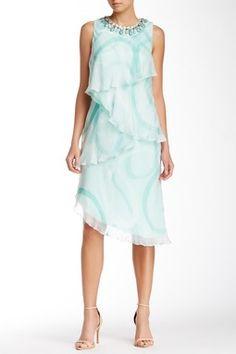 Mikael Aghal Tiered Asymmetrical Silk Dress