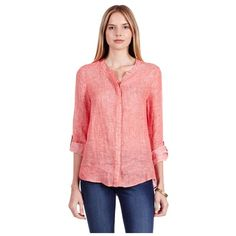 Joie Devana linen top Only worn once! Cleaned and ready to go! 100% linen. Color: cayenne. Joie Tops Button Down Shirts
