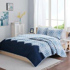 Intelligent Design Tia Reversible Quilt Set in Blue - BedBathandBeyond.com