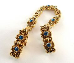 SALE Vintage Sweater Clip Rhinestone Jewelry Sapphire by kiamichi7