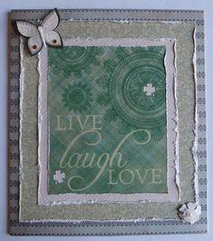 Live Laugh Love Card Handmade Shamrock Card #shamrock #saintpatricksday #handmadecard #etsy #beautifulcard #saintpatricksdaycards #shamrockcards #irishcards #irish
