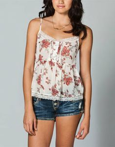 LOTTIE & HOLLY Floral Lace Trim Womens Top on Wanelo