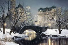 """""""Twilight in Central Park"""" - *New York City* --  [The """"Gapstow Bridge"""" in Central Park with the Plaza Hotel in the background.]~[Photographer Rod Chase]'h4d'121026"""