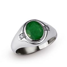 Men's Ring 4.94ct EMERALD and 0.04ct DIAMONDS 925 K Sterling Silver 63907