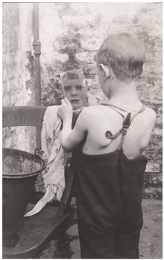 """Horace Warner, """"Quite Clean 'Nuff"""", a boy washes his face in a Spitalfields yard"""