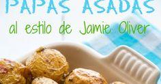 """Esta receta de papas asadas, sacada de del libro """"Las comidas en 30 minutos de Jamie"""" que me regaló mi cuñado Javier las pasadas n... Jamie Oliver, Canapes, Muffin, Vegetarian, Breakfast, Food, Wings, Potato Recipes, Potatoes"""