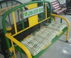 Not necessarily John Deere, as im NOT a farm girl anymore.but I do have an old iron bed frame. John Deere Crafts, John Deere Decor, Metal Furniture, Repurposed Furniture, Cool Furniture, Furniture Ideas, John Deere Kitchen, John Deere Room, Old Bed Frames