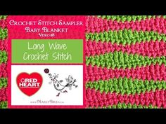 The Long Wave Crochet Stitch is a fun stitch to learn. It is also the stitch in the Crochet Stitch Sampler Baby Blanket by Marly Bird. Crochet Bebe, Crochet Gifts, Crochet Motif, Crochet Yarn, Easy Crochet, Free Crochet, Knitting Videos, Crochet Videos, Crochet Classes