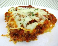 Spaghetti Casserole  -- I have made this and left out the ground beef...AND still good!