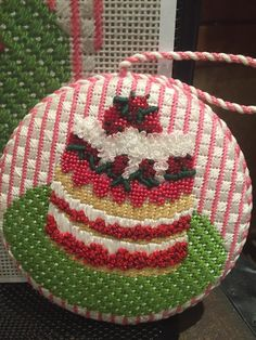 needlepoint cake ornament with  beaded & french knot berries, designer unknown