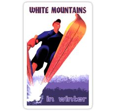 Retro ski travel, White Mountains in winter stickers by aapshop