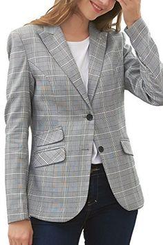 Product review for Hanayome Women's Blazer Two-Button Regular Fitted Gray Lattice Formal Separate Suit.  - Size(Women's) : US TAG Sleeve Length : Long Sleeve Package Include :1 x Jacket This is our Hanayome size chart for your reference: 6# (Bust 34'', Waist 27'') 8# (Bust 36'', Waist 28'') 10# (Bust 38'', Waist 30'') 12# (Bust...