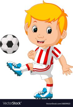 Boy playing soccer vector image on VectorStock Sports Day Kindergarten, Boys Playing, Kids Cards, Art Sketches, Chibi, Vector Free, Baby Boy, Soccer, Clip Art