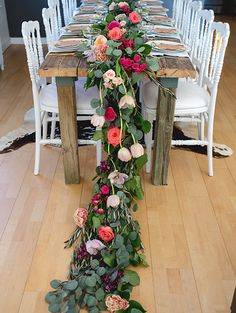 Floral and greenery centerpiece for a whimsical 70th birthday party