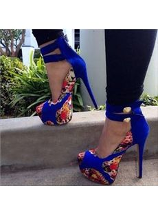Fancy Most Chic Girls Multi Print  Blue Close Toe High Heel Spring Shoes