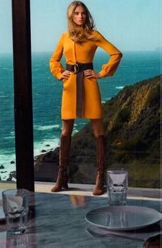 Cara Delevingne in Gucci silk dress and Miu Miu boots for Vogue US June 2014 by Mario Testino