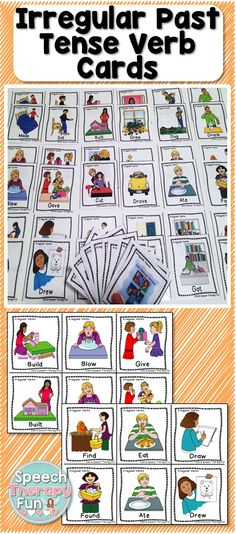 Irregular Past Tense Verbs Flash Card set contains 2 different sets (one with words and one without).
