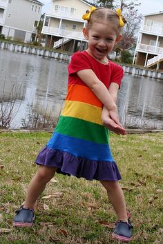 Rainbow dress tutorial. @Judy Vilhauer think we could make this for Kira's Birthday? I'm scared of sewing T-shirts...so stretchy!