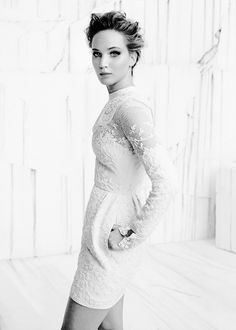 Jennifer Lawrence in Instyle's December 2013 Issue wearing a Valentino Beaded Silk Dress in White.