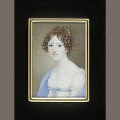 English School (early 19th Century). [Front hair is parted but drawn smoothly forward and then to the side to lower her high forehead. Bunches of small, soft ringlets starting above temples, extending both toward the eyebrows and back over the ears. (No visible connection to front hair; this is not difficult to mimic with a hairpiece.)  Back hair is visible as a bun (loose coils or curls) surrounded by a braid.] Small gold comb on left side.]