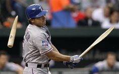Texas Rangers' Ian Kinsler breaks his bat as he hits a single in the first inning of a baseball game against the Baltimore Orioles in Baltimore, Monday, May 7, 2012. (AP Photo/Patrick Semansky) game 29