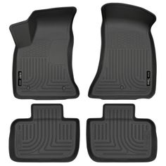 Black for 2019 Ram 1500 Crew Cab with Front Row Bench Seat SMARTLINER Floor Mats 2 Row Liner Set Both Rows 1pc