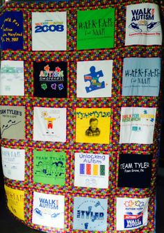 "Tyler's quilt that his thoughtful and caring Aunt Sherry made for him. This was done with all the T-shirts from all the walks we did as ""TEAM TYLER""!!!"