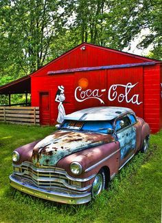 Coca Cola Old Barn Vintage Car South of Metro Airport Michigan Too bad the barn didn't have a Faygo or Vernor's sign painted on it. More Michigan. Coca Cola Vintage, Vw Vintage, Automobile, Barn Art, Rusty Cars, Abandoned Cars, Abandoned Vehicles, Old Barns, Old Trucks