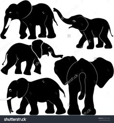 elephant with babies silhouette - Google Search