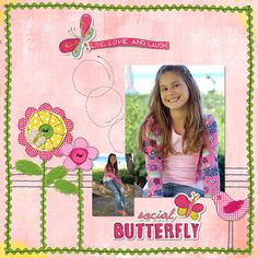 Butterfly Scrapbook Page Idea Check out my scrapbooking video page at http://thomaskiid.blogspot.com/p/scrapbooking.html