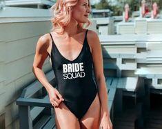 Bride Squad Swimsuit - Bridesmaid Swimsuit - Bride Swimsuit - Squad Swimsuits - Bride Swimwear Bridal Swimwear, Special Events, Bodysuit, Swimsuits, One Piece, Bride, Luxury, Shopping, Fashion