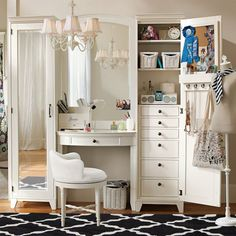 "Hampton Vanity Tower & Super Set | PBteen $1789.00 for two towers, vanity table and vanity mirror.    66"" wide x 18.5"" deep x 76"" high.  If there's room for a vanity, why not maximize the storage in the space?  Maybe a bit claustrophobic?  But holds a lot..."